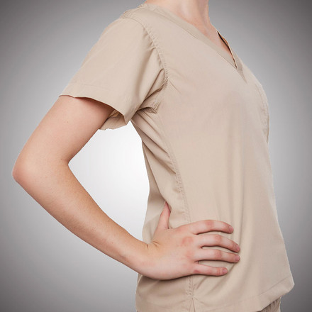Khaki Scrubs Top - Petite Grey Label