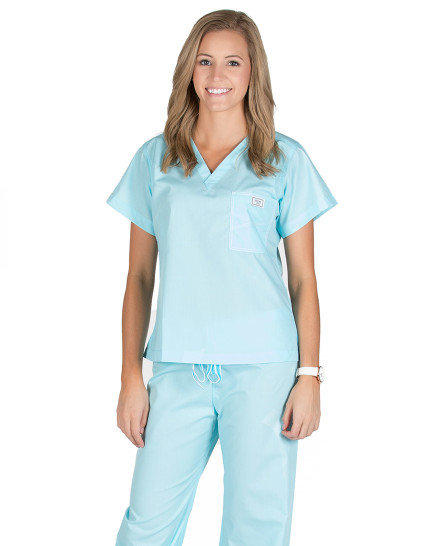 Aquamarine Shelby Scrub Tops