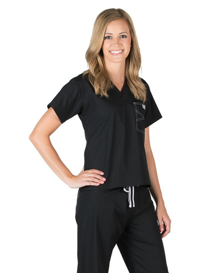 Black Shelby Scrubs Top - Petite Grey Label