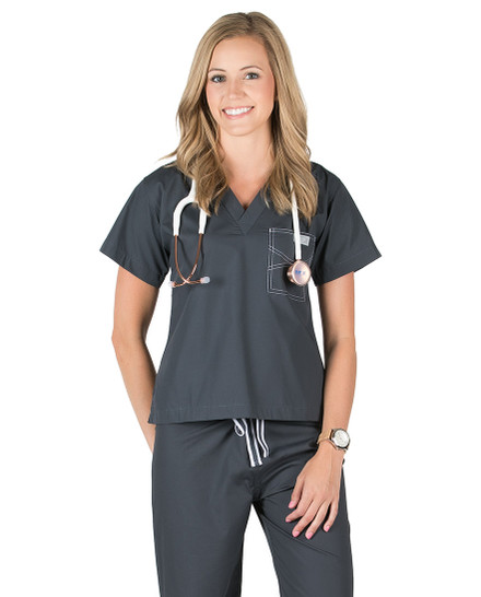 Pewter Shelby Scrubs Top - Petite Grey Label