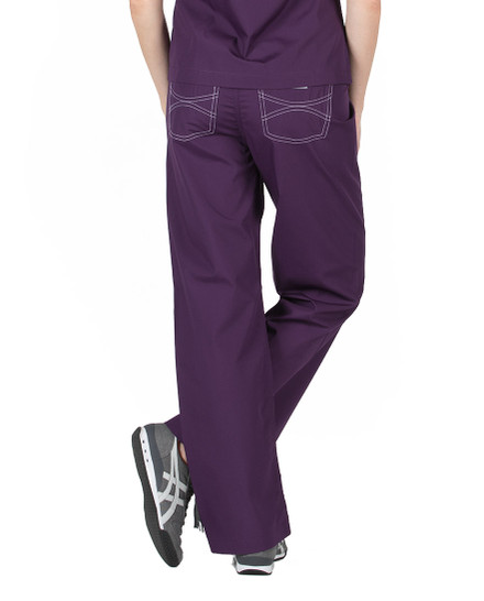 Eggplant Shelby Scrubs Pant - Petite Grey Label