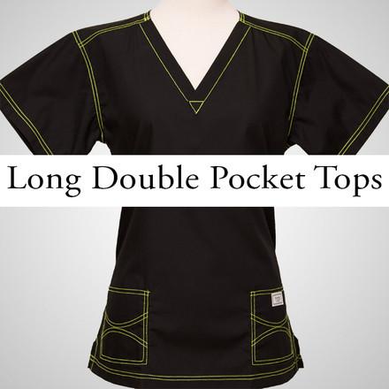 Small Womens Long Double Pocket Urban Tops