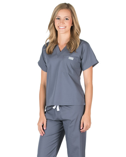 Charcoal Scrub Top - Petite Grey Label