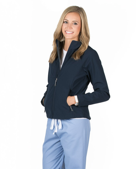 Navy Blue Oxford Soft Shell Jacket