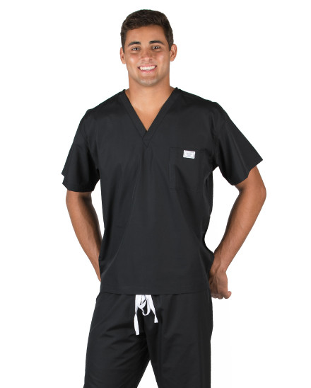 2XL Long David Relaxed Jet Black Scrub Top