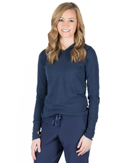 Tyler Hooded Long Sleeve Tee - Navy Heather