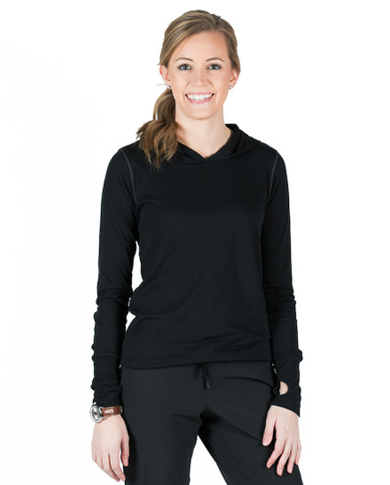 Tyler Hooded Long Sleeve Tee - Black