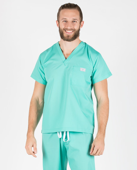 Medium Carnegie Green Sullivan Simple Mens Scrub Top
