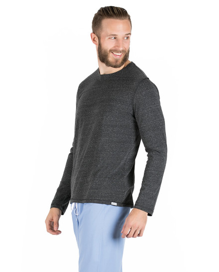 Hudson Mens Long Sleeve Tee - Charcoal Heather Grey