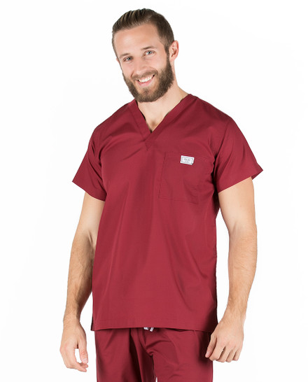 Medium Long Crimson Wine Sullivan Simple Scrub Top