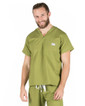 Medium Olive Green Sullivan Simple Mens Scrub Top - Image Variant_0