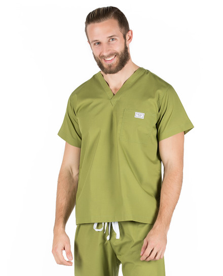 Medium Olive Green Sullivan Simple Mens Scrub Top
