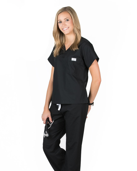 XS Long Jet Black Simple Scrub Top