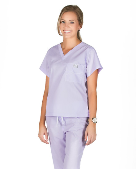 XL Long French Lilac Shelby Scrub Top