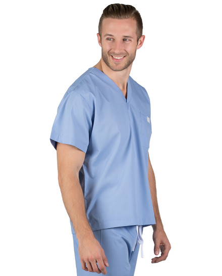 Large Long David Ceil Blue Simple Scrub Top