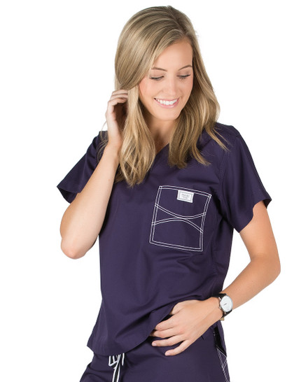 Large Long Eggplant Shelby Scrub Top