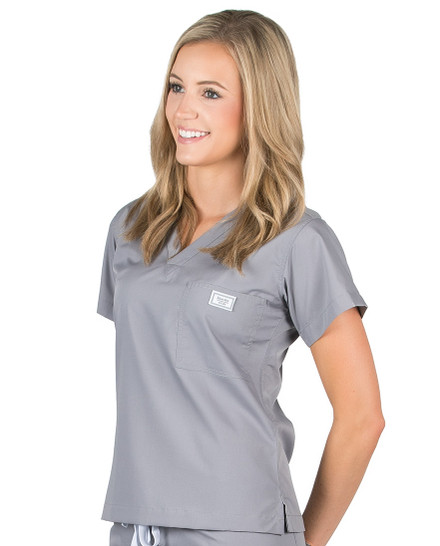 2XL Slate Grey Classic Simple Scrub Tops