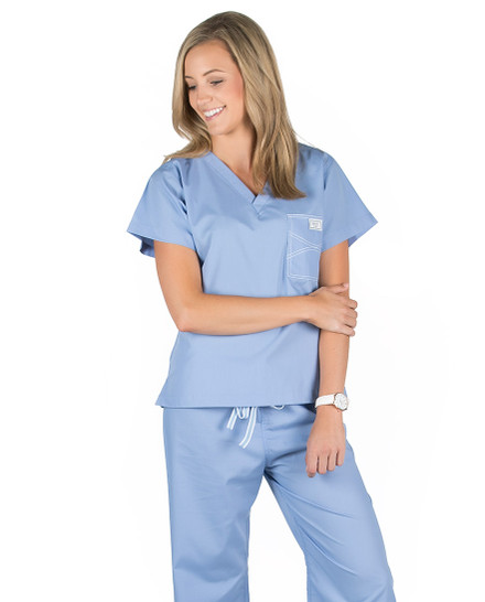 XXS Long Ceil Blue Shelby Scrub Tops
