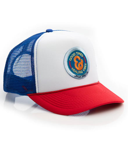 Good Times Trucker Hat -Multi with Blue Patch