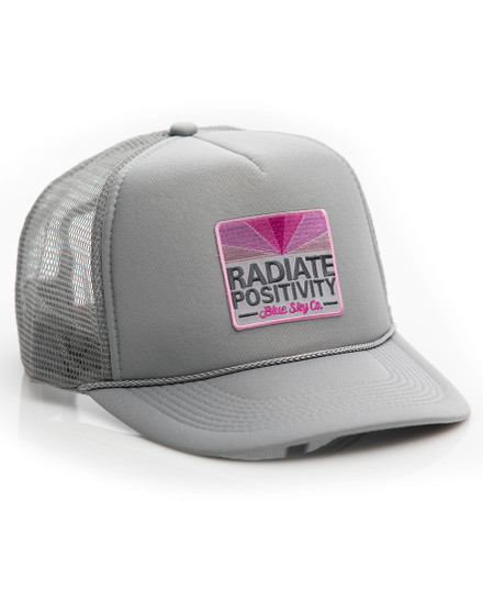 Radiate Positivity Trucker Hat - Grey-Pink