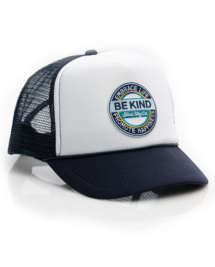 Be Kind Trucker Hat - Navy-White