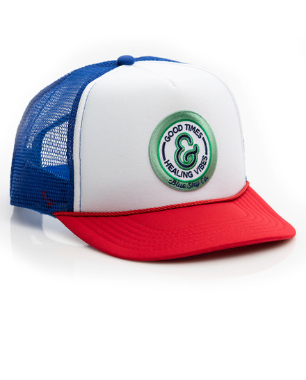 Good Times Trucker Hat - Multi with Green Patch