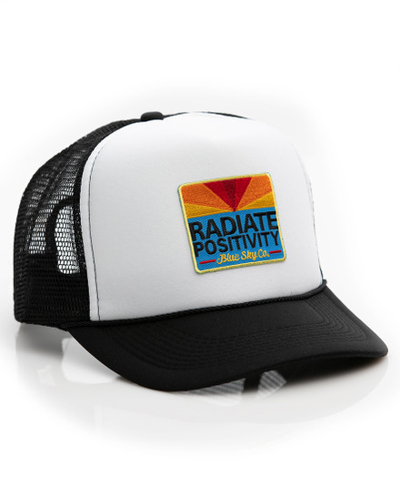 Radiate Positivity Trucker Hat - Black-White