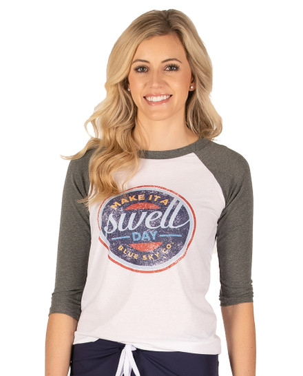 Make it a Swell Day Vintage Baseball Tee - Grey-White