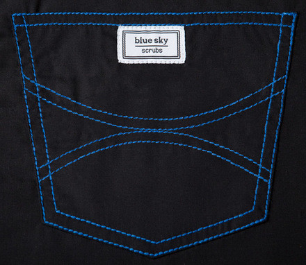 Medium Petite Classic Shelby Scrub Pant - Jet Black with Royal Blue Stitching