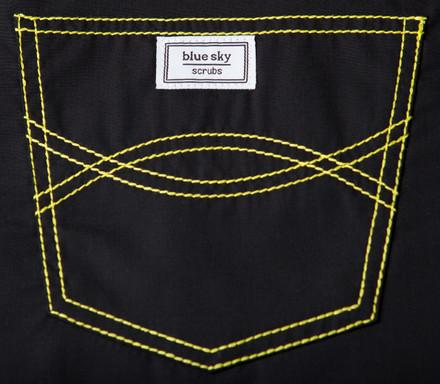 Small Urban Shelby Scrub Pant - Jet Black with Yellow Stitching