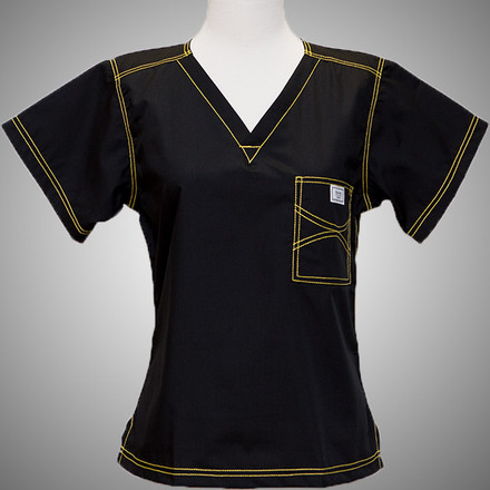 3f8a93aa40f Blue Sky Co.   Small Urban Shelby Scrub Top - Jet Black with Yellow ...