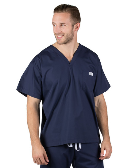 2XL Long Navy Blue David Simple Scrub Top