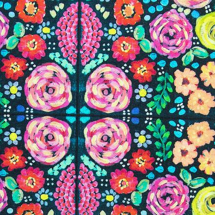 Flowered Mosaic Pixie Scrubs Cap