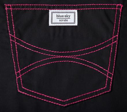 XXS Long Black Scrub Top - Hot Pink Shelby Stitching - 2 Pockets