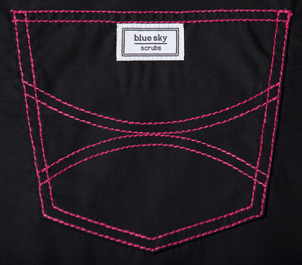 XXS Long Black Scrub Top - Hot Pink Shelby Stitching - 2 Pockets
