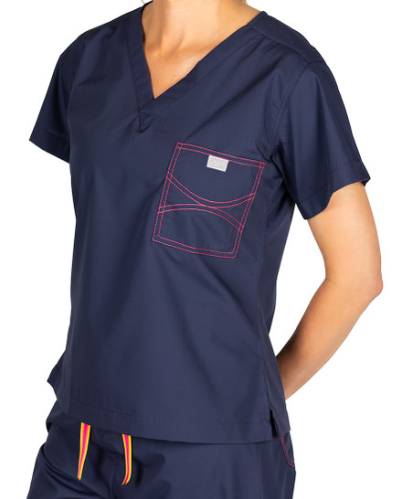 Limited Edition Shelby Scrub Tops - Navy with Strawberry Stitching