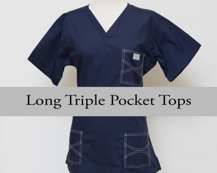 2XL Long Navy Classic Shelby Triple Pocket Top