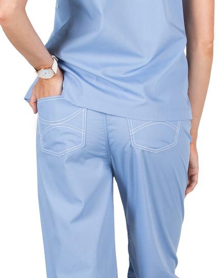 Large Petite Ceil Blue Classic Shelby Scrub Pants