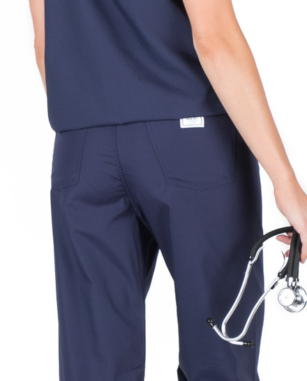 3XL Petite Navy Blue Classic Simple Scrub Pants