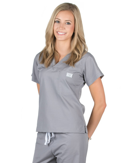 Medium Long Slate Grey Classic Simple Scrub Top