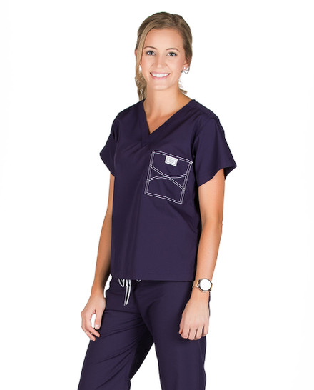 "Large Long Eggplant Classic Shelby Scrub Top - 3"" Added Length"