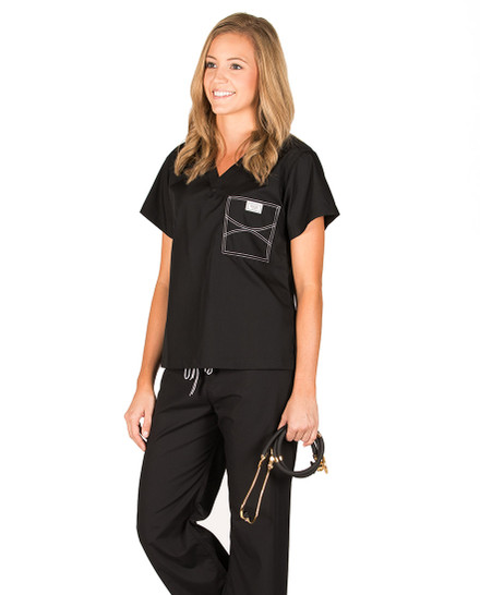 "XL Long Jet Black Classic Shelby Scrub Top - 3"" Added Length"