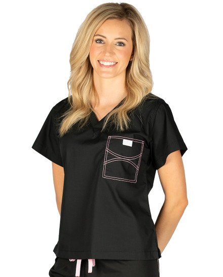 Limited Edition Shelby Scrub Tops - Black with Light Pink Stitching