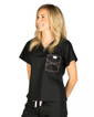 Limited Edition Shelby Scrub Tops - Black with Light Pink Stitching - Image Variant_2