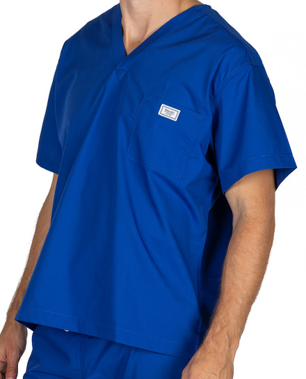Large Royal Blue David Simple Scrub Top