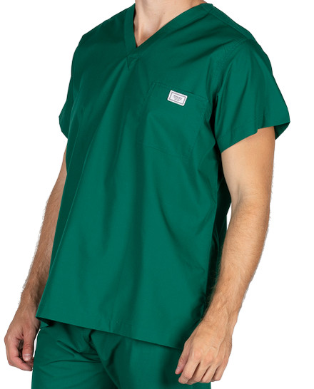 Large Long Pine Green Sullivan Simple Scrub Top