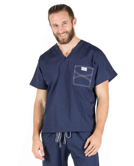 Large Long Navy Blue David Shelby Scrub Top