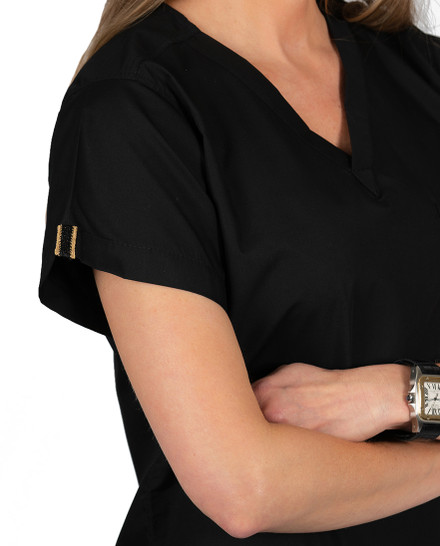 Limited Edition Simple Scrub Tops - Black with Gold Metallic/Black Detail