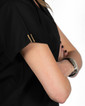 Limited Edition Simple Scrub Tops - Black with Gold Metallic/Black Detail  - Image Variant_1
