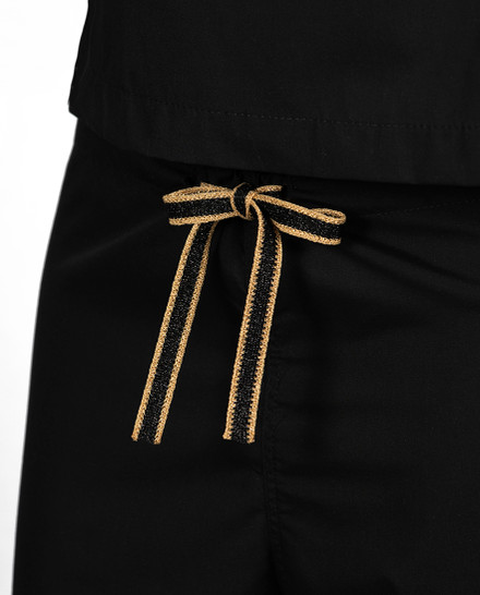 Limited Edition Simple Scrub Pants - Black with Gold Metallic/Black Tie